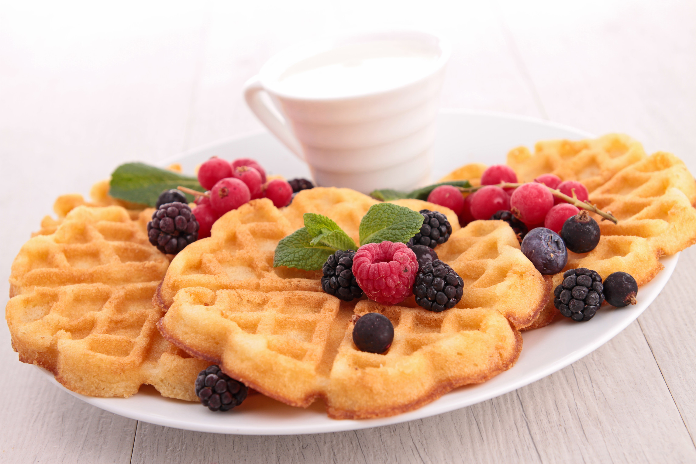 Food Recipe Berries Waffles