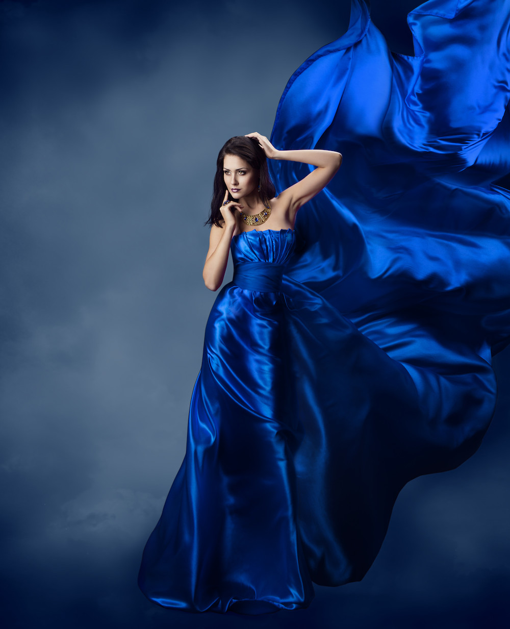 Fashion Woman Blue Fabric